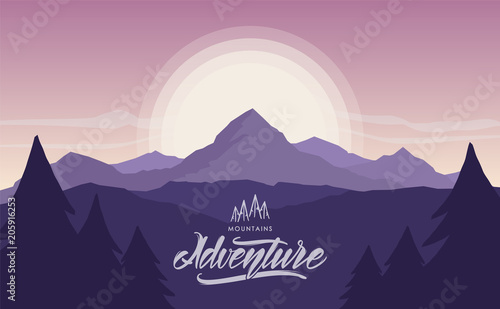 Tuinposter Aubergine Mountains sunriser landscape with hand lettering of Mountains Adventure