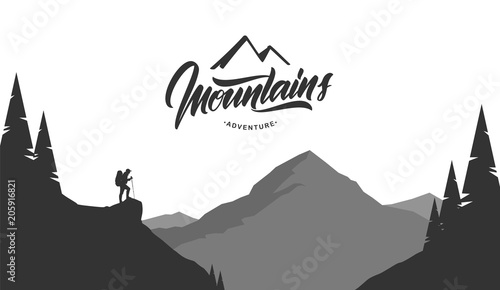 Tuinposter Grijs Cartoon mountains grayscale landscape with hiker on foreground