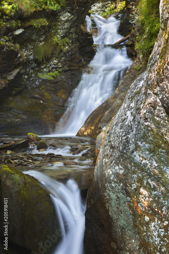 Foto op Canvas Watervallen Waterfall near Starleggia village, Campodolcino, Spluga valley, Sondrio province, Lombardy, Italy, Europe
