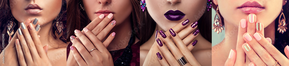 Fototapeta Beauty fashion model with different make-up and nail art design wearing jewelry. Set of manicure. Four stylish looks