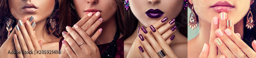Beauty fashion model with different make-up and nail art design wearing jewelry. Set of manicure. Four stylish looks