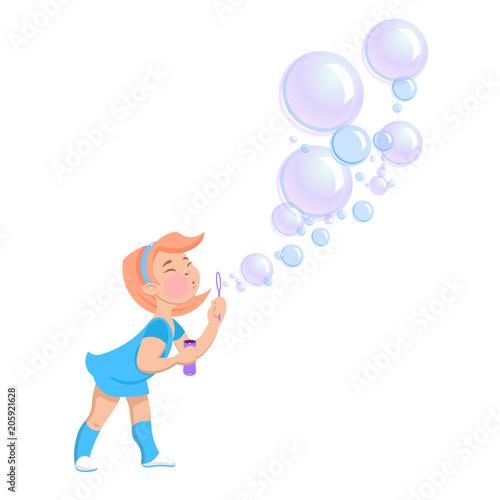 Photo cartoon girl blowing soap bubbles