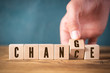 "canvas print picture - Hand flips one of six cubes with letters, turning the word ""change"" to ""chance"""