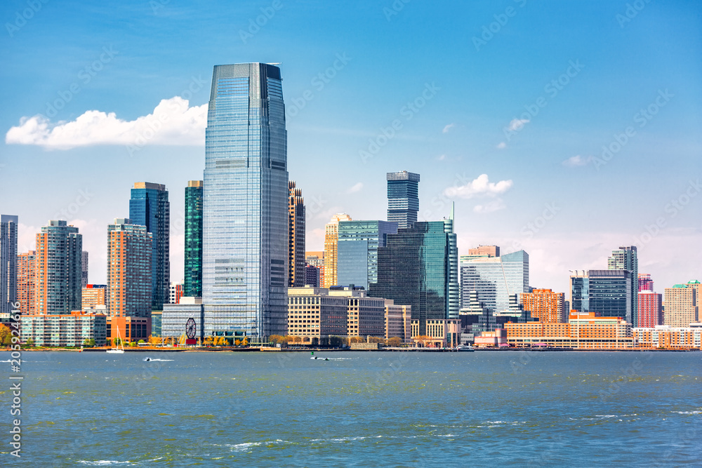 Fototapety, obrazy: Jersey City skyline viewed from a boat sailing the Upper Bay