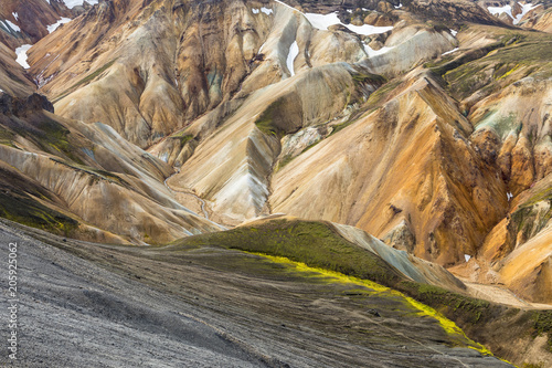 Landmannalaugar, view from the Blahnukur mountain (Landmannalaugar, Fjallabak Nature Reserve, Highlands, Southern Region, Iceland, Europe)