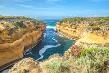 Lookout Loch Ard Gorge In Port Campbell National Park In Great Ocean Road, Victoria State, South Australia. Shipwreck Walk Begins From The The Main Carpark And Extends Along The Side Of The Gorge.
