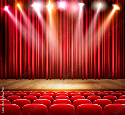 A theater stage with a spotlight. Festival show poster. Vector.