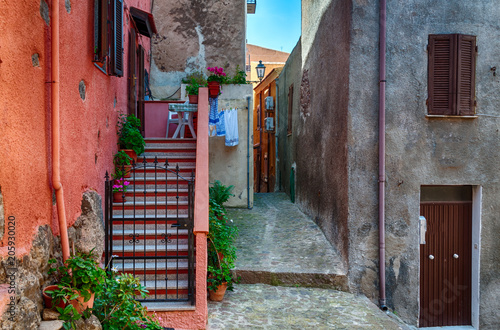 the beautiful alley of castelsardo old city Canvas-taulu