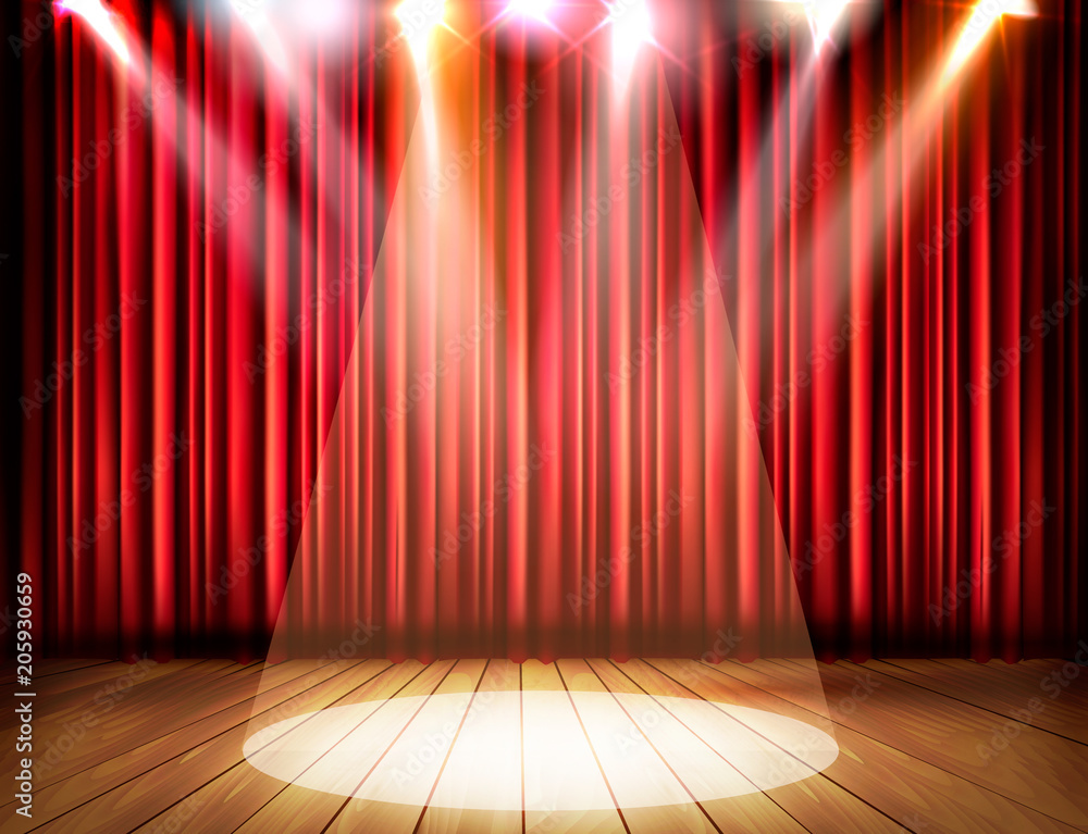 Fototapeta A theater stage with a red curtain and a spotlight. Vector.
