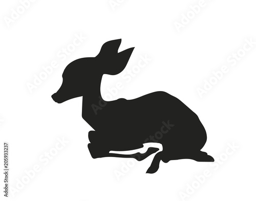baby deer lying, silhouette, vector Wallpaper Mural