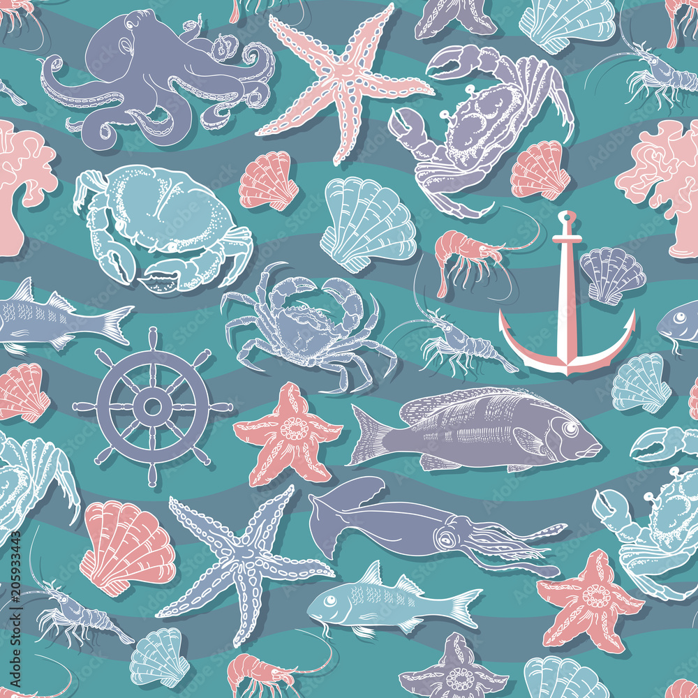 Retro underwater seamless pattern.