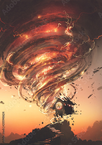 red tornado with lightning destroying the little old house, digital art style, illustration painting