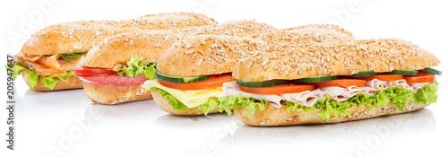 Fotografie, Obraz  Baguette Brötchen belegt mit Schinken Salami Käse Lachs Fisch Sandwich frisch Vo