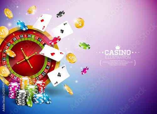 Poster  Casino Illustration with roulette wheel, falling gold coins and playing chips on blue background