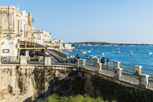 Promenade And Fountain Of Arethusa In Siracusa, Sicily, Italy