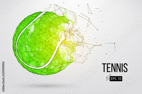 Silhouette of a tennis ball from particles. Wallpaper Mural