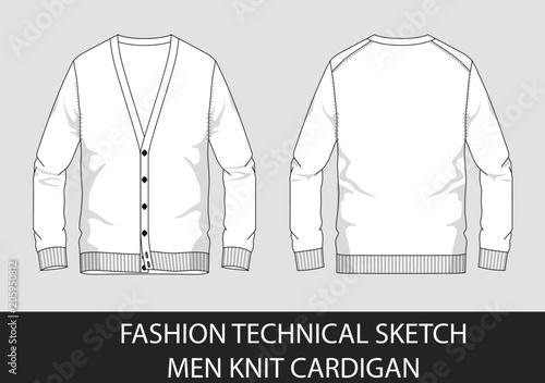 Fotografía  Fashion technical sketch men knit cardigan in vector graphic