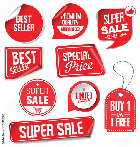 Fotografie, Obraz  Sale stickers and tags red design illustration