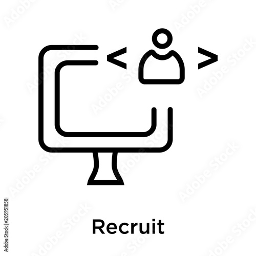 Fotografía  Recruit icon vector sign and symbol isolated on white background