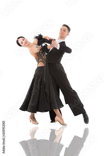 Carta da parati ballroom dance couple in a dance pose isolated on white