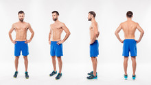 Full Size Fullbody Different Side Collage Of Attractive, Athletic, Sportive, Strong, , Harsh, Virile Man Holding Hands On Waist, Having Modern Hairstyle, Look, Isolated On White Background