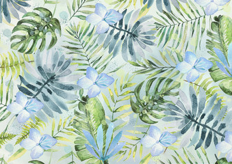 FototapetaExotic leaves and flowers watercolor bacground. Design element