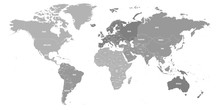 Map Of World. Political Map Divided To Six Continents - North America, South America, Africa, Europe, Asia And Australia. Vector Illustration In Shades Of Grey With Country Name Labels.