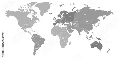 Map of World. Political map divided to six continents ...