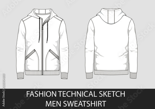 Photo Technical sketch man hooded sweatshirt in vector graphic