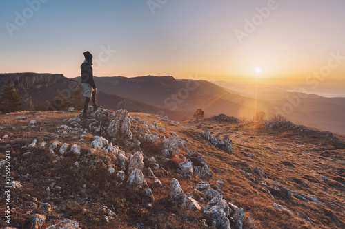 Man and mountain landscape