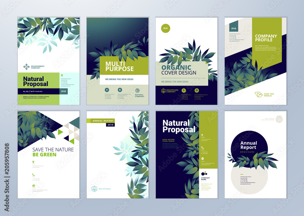 Fototapeta Set of brochure and annual report cover design templates on the subject of nature, environment and organic products. Vector illustrations for flyer layout, marketing material, magazines, presentations