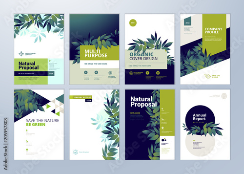 Fotografie, Obraz  Set of brochure and annual report cover design templates on the subject of nature, environment and organic products