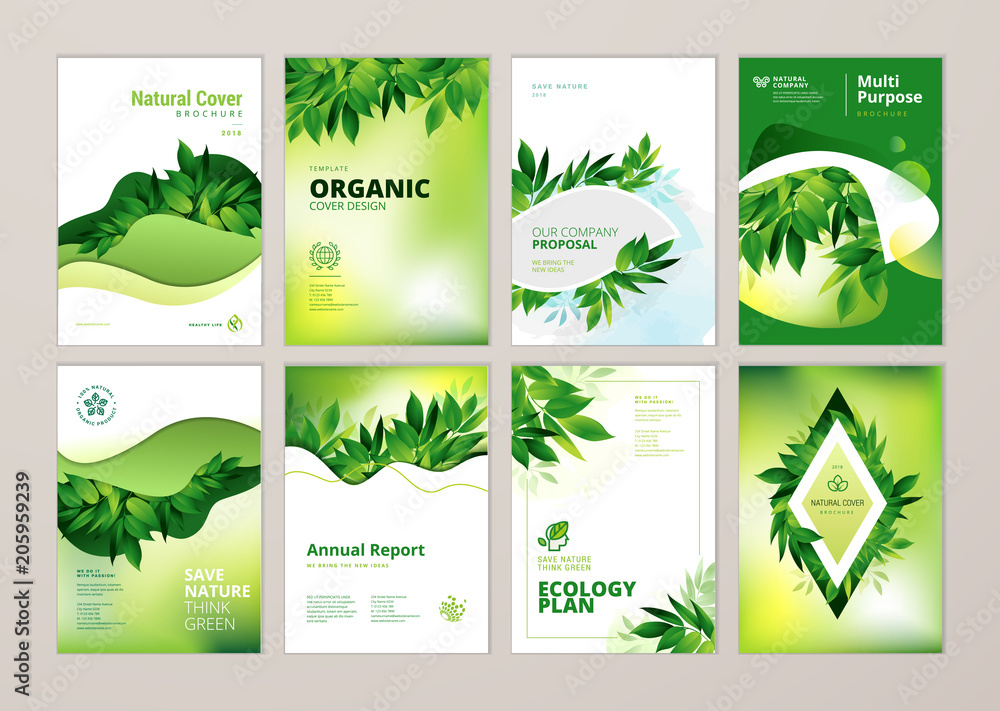 Fototapety, obrazy: Set of brochure and annual report cover design templates on the subject of nature, environment and organic products. Vector illustrations for flyer layout, marketing material, magazines, presentations