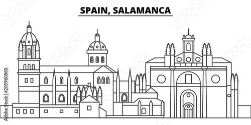 Spain, Salamanca line skyline vector illustration. Spain, Salamanca linear cityscape with famous landmarks, city sights, vector design landscape.