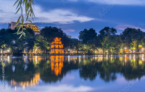 Turtle tower in the middle of Hoan Kiem Lake in Hanoi, Vietnam