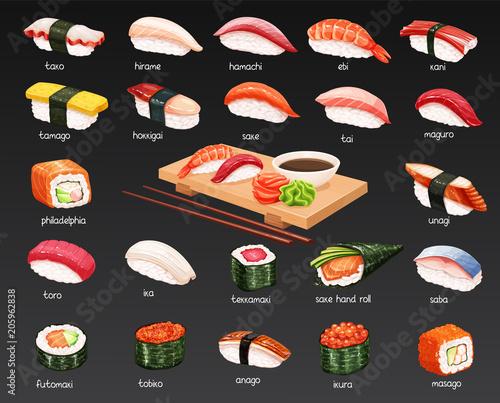 Fototapeta Vector sushi set. obraz