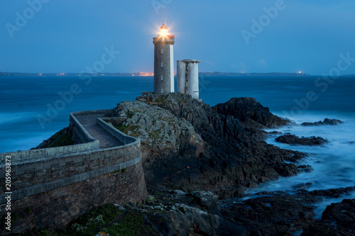 Foto auf Leinwand Leuchtturm Le Petit Minou lighthouse near Brest city, Bretagne, France