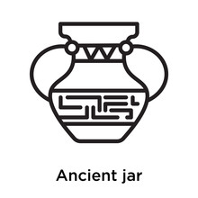 Ancient Jar Icon Vector Sign And Symbol Isolated On White Background