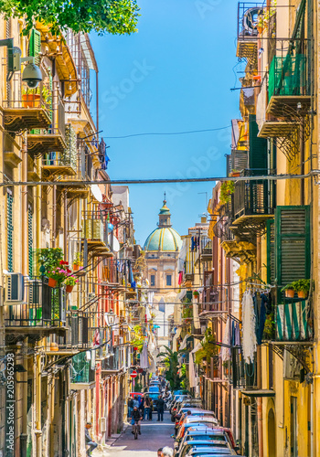 Spoed Foto op Canvas Palermo View of a narrow street leading to chiesa del carmine maggiore in Palermo, Sicily, Italy