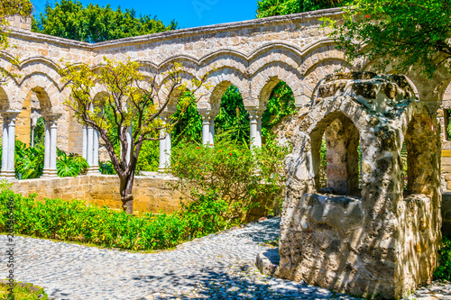 Gardens in the grounds of Church of St. John of the Hermits in Palermo, Sicily, Italy