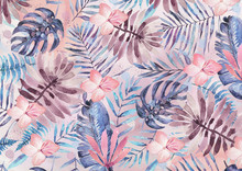 Exotic Leaves And Flowers Watercolor Bacground (pink)