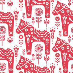 Dala swedish horse seamless vector pattern.