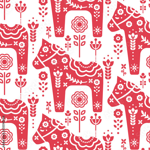 Obrazy skandynawskie  dala-swedish-horse-seamless-vector-pattern