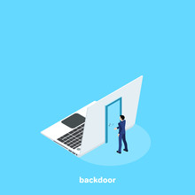 A Door On The Back Of The Laptop And A Man In A Business Suit, An Isometric Image