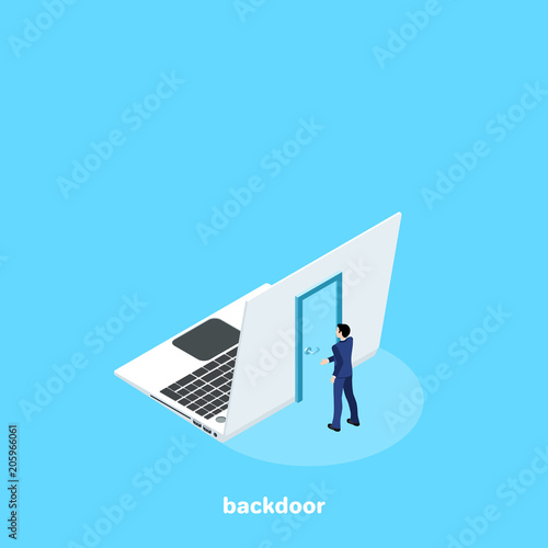 a door on the back of the laptop and a man in a business suit, an isometric imag Canvas Print