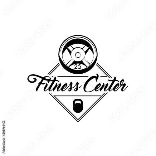 Gym Equipment Logo: Barbell Disks, Kettlebell. Fitness Center Label Emblem