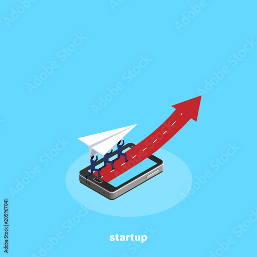 Fototapeta men in business suits fly on paper airplanes as one team, an isometric image