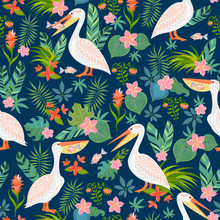 Decorative Seamless Pattern With Pelicans, Tropical Flowers And Leaves.