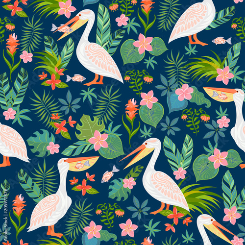 Decorative seamless pattern with pelicans, tropical flowers and leaves Fotobehang