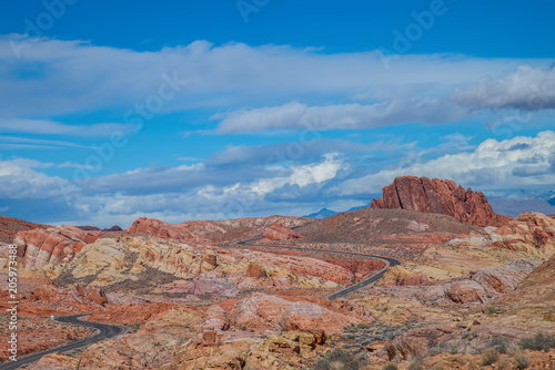 Foto op Canvas Baksteen Rainbow Vista - A section of the Valley of Fire in Nevada made up of different colors of sandstone and other rocks